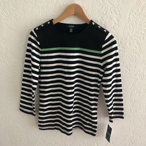 3/$20 ALL TEES NWT Chaps 3/4 Sleeve Striped S